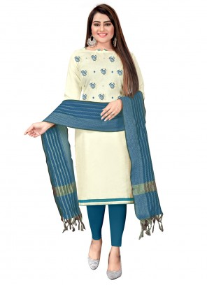 Embroidered Blue and Off White Cotton Churidar Suit