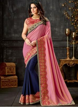 Embroidered Blue and Pink Designer Half N Half Saree