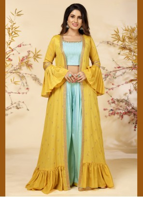 Embroidered Blue and Yellow Readymade Suit
