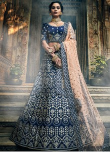 Embroidered Blue Art Silk A Line Lehenga Choli