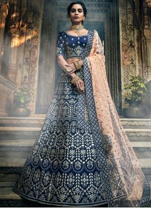 Embroidered Blue Art Silk A Line Lehenga Choli