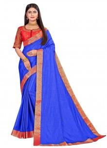 Embroidered Blue Art Silk Designer Traditional Saree