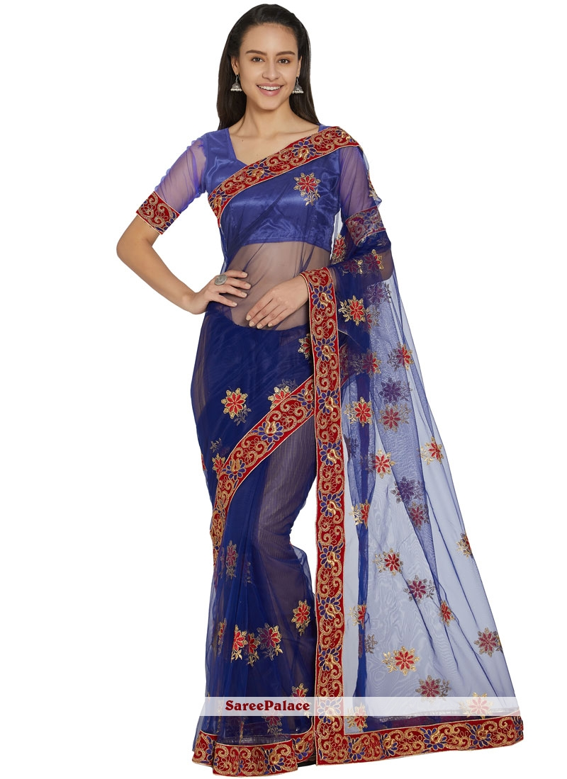 Embroidered Blue Casual Saree
