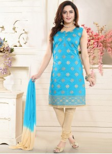 Embroidered Blue Chanderi Churidar Designer Suit