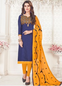 Embroidered Blue Cotton   Churidar Suit