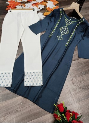 Embroidered Blue Designer Kurti