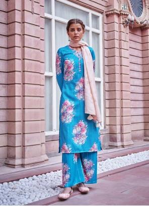 Embroidered Blue Designer Palazzo Salwar Kameez
