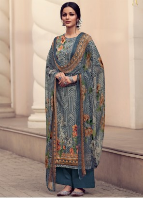 Embroidered Blue Designer Palazzo Suit