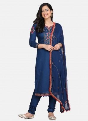 Embroidered Blue Designer Straight Suit