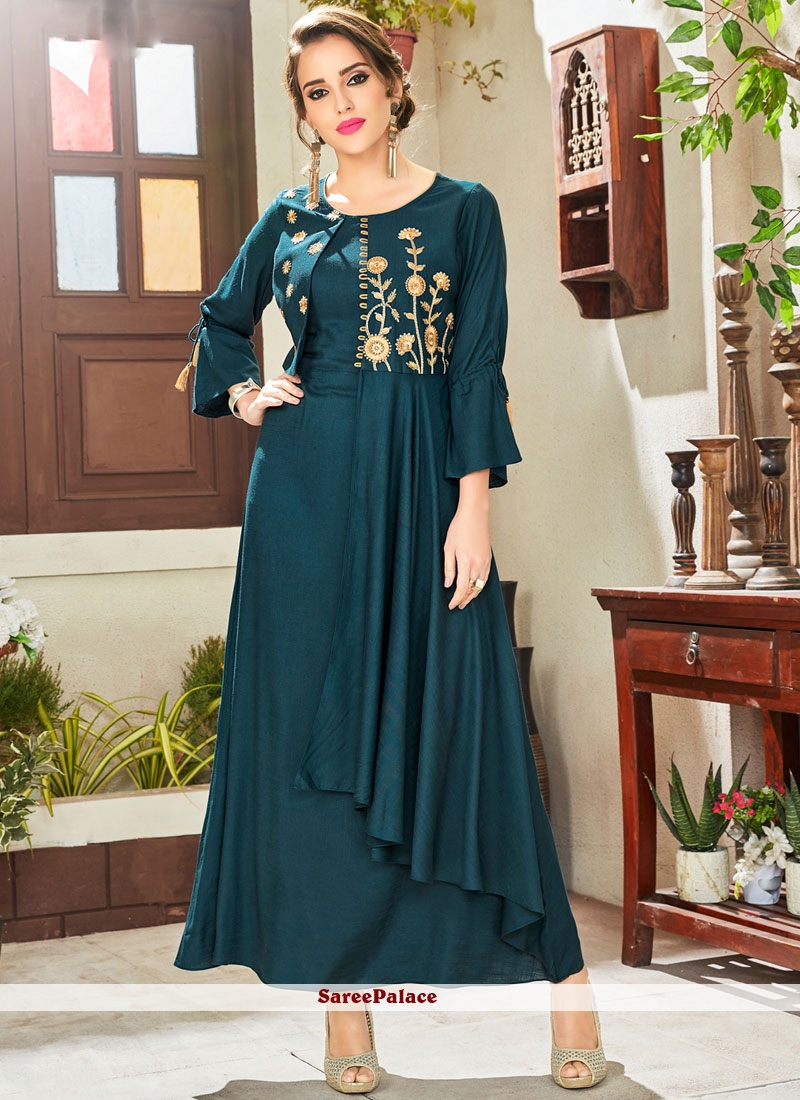 999953237 Buy Embroidered Blue Fancy Fabric Party Wear Kurti Online