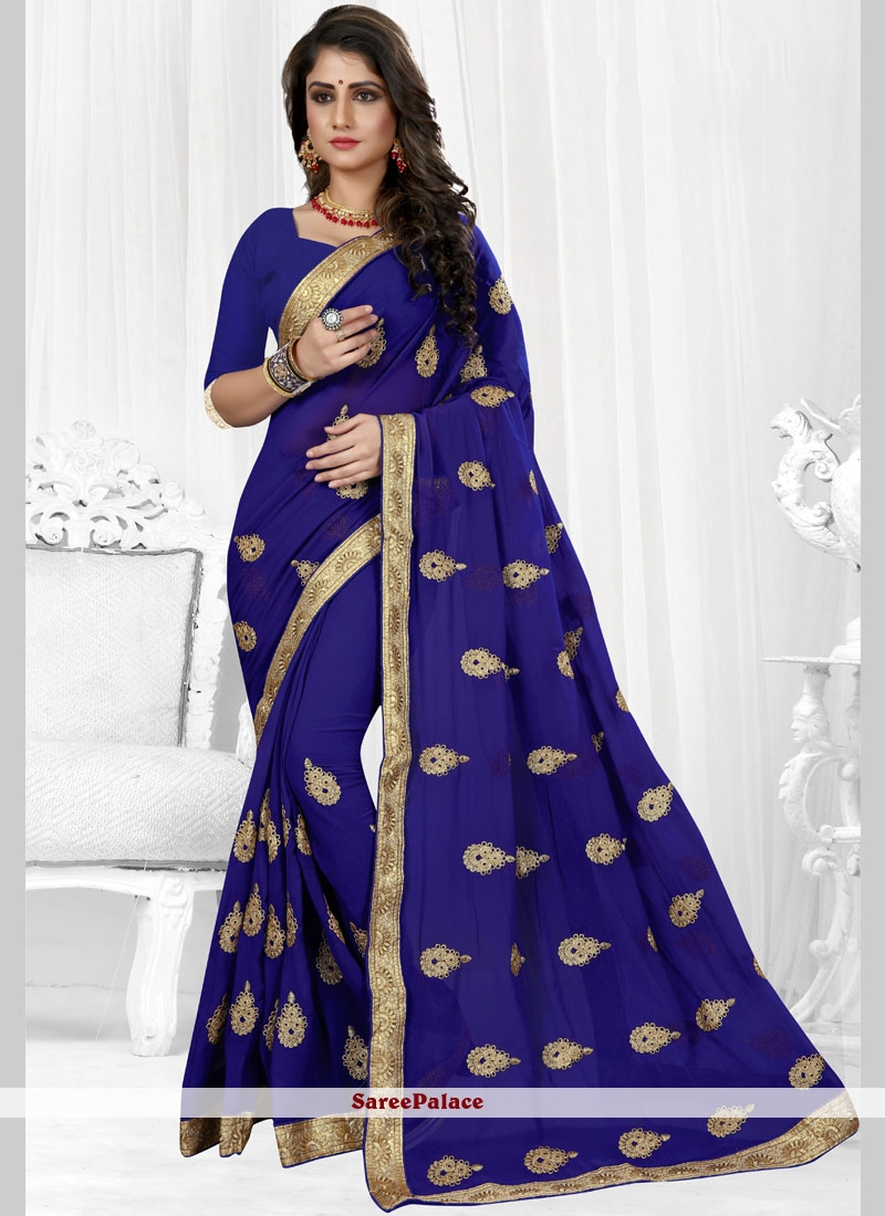 Embroidered Blue Faux Georgette Classic Saree