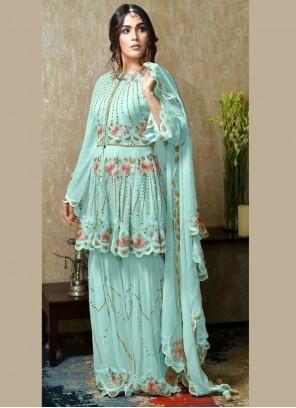 Embroidered Blue Faux Georgette Designer Palazzo Salwar Kameez