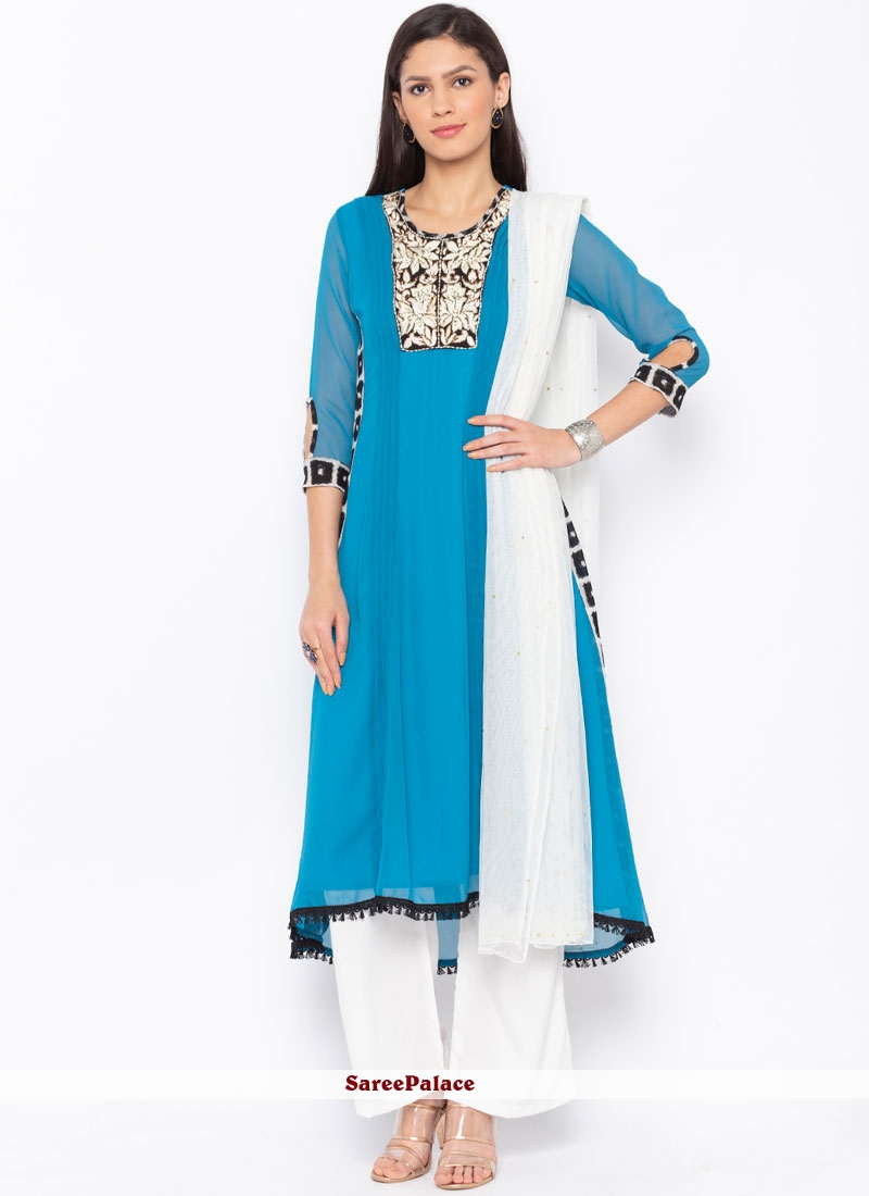 Embroidered Blue Faux Georgette Readymade Suit