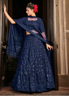 Embroidered Blue Georgette Lehenga Choli