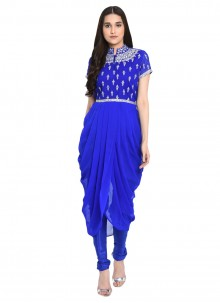 Embroidered Blue Georgette Readymade Salwar Kameez