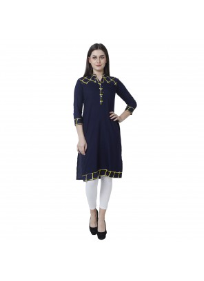 Embroidered Blue Rayon Casual Kurti