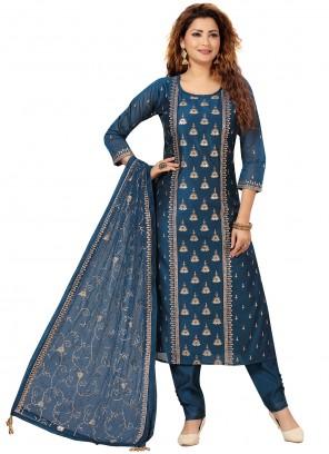 Embroidered Chanderi Blue Salwar Suit