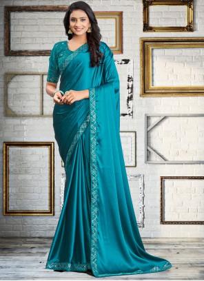 Embroidered Blue Satin Silk Classic Saree