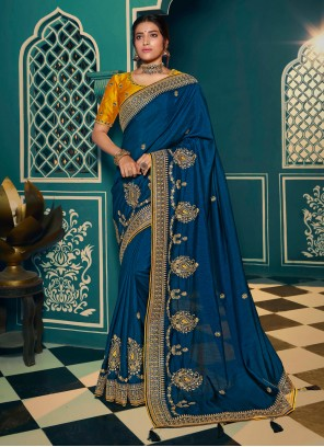 Embroidered Blue Silk Classic Saree