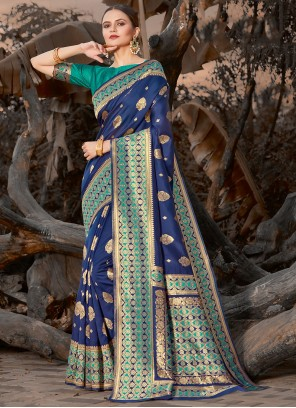 Embroidered Blue Silk Traditional Saree
