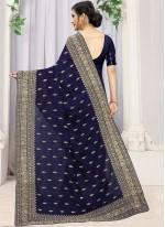 Embroidered Blue Silk Trendy Saree