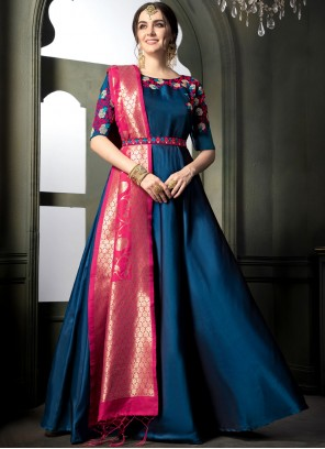 Embroidered Blue Tafeta silk Floor Length Anarkali Suit