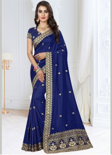 Embroidered Blue Traditional Designer Saree