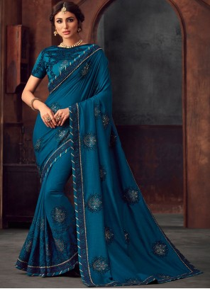 Embroidered Blue Traditional Saree