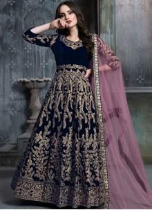 Embroidered Blue Velvet Anarkali Salwar Kameez