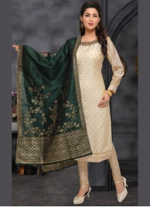 Embroidered Bollywood Beige Salwar Kameez