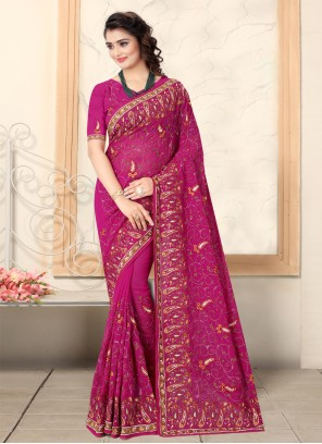 Embroidered Pink Bollywood Saree