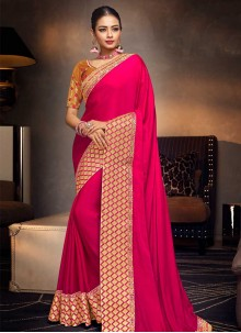 Hot Pink Embroidered Bridal Designer Traditional Saree