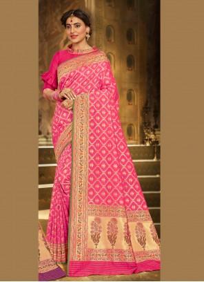 Embroidered Brocade Designer Saree in Pink