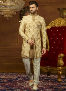 Embroidered Brocade Indo Western in Beige and Gold