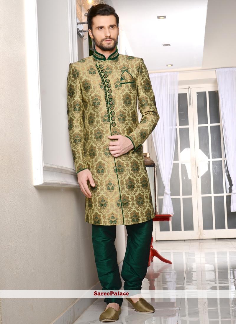 Embroidered Brocade Indo Western Sherwani in Green