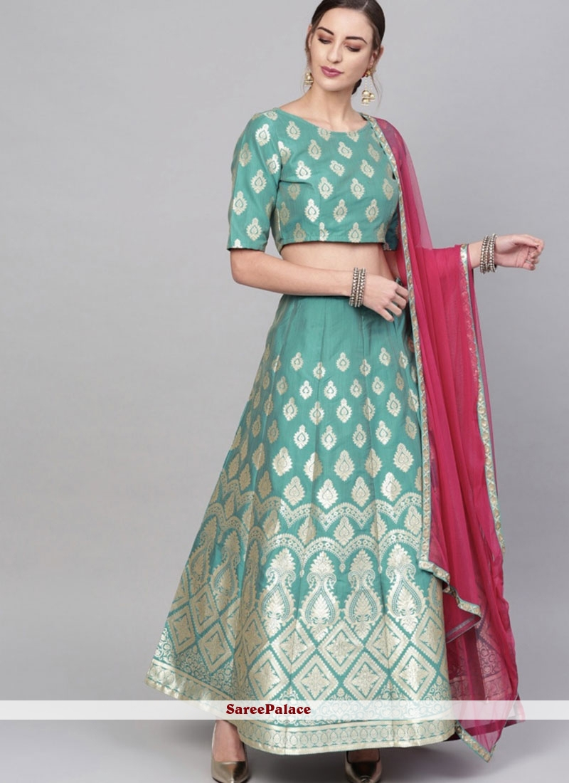 Embroidered Brocade Readymade Lehenga Choli in Gold and Green