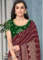 Embroidered Brown Art Silk Classic Designer Saree