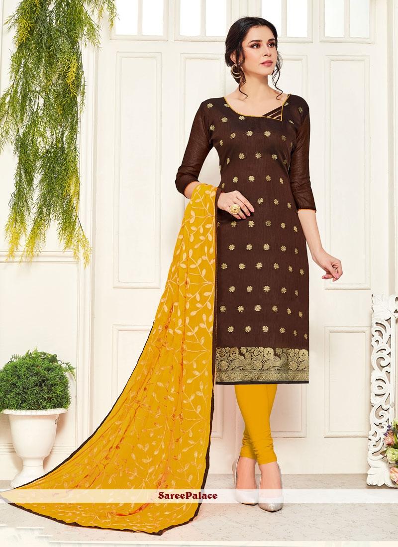 Embroidered Brown Banarasi Silk Churidar Salwar Kameez