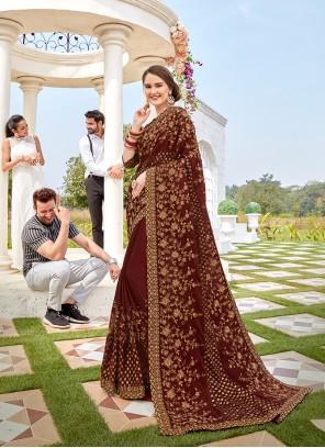 Embroidered Brown Designer Saree