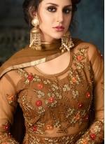 Embroidered Brown Net Anarkali Salwar Kameez