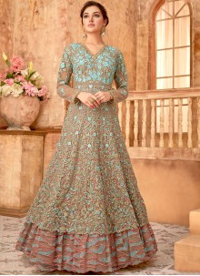 Embroidered Brown Net Anarkali Suit