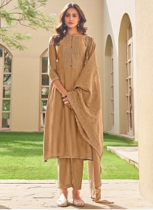 Embroidered Brown Pant Style Suit