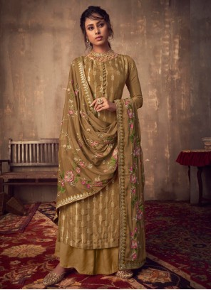Embroidered Brown Salwar Suit