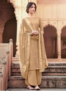 Embroidered Brown Viscose Bollywood Salwar Kameez