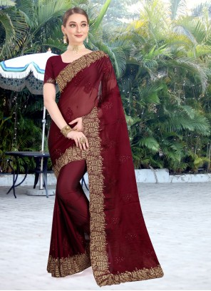 Embroidered Burgundy Faux Chiffon Designer Traditional Saree