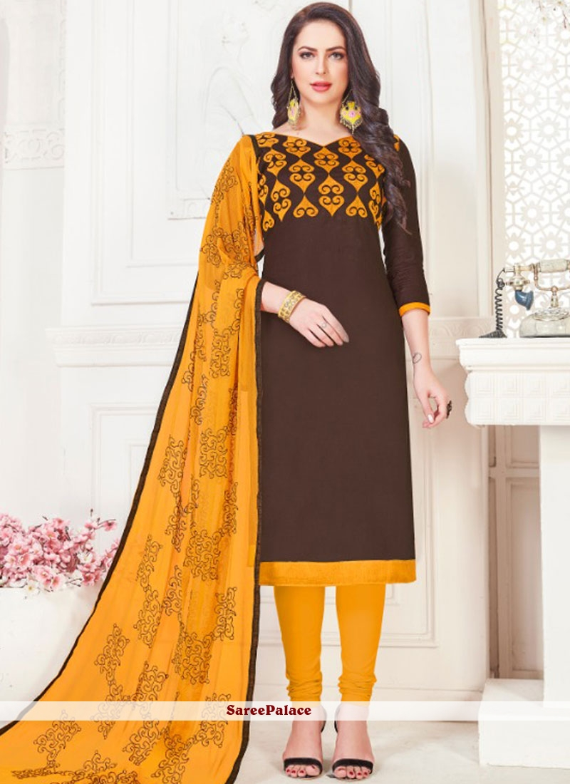 Brown Embroidered Casual Churidar Suit