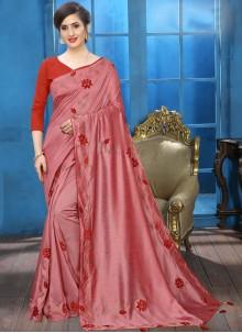 Embroidered Casual Silk Saree