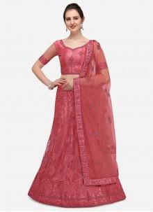 Pink Embroidered Ceremonial A Line Lehenga Choli