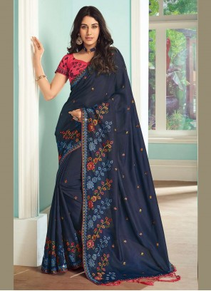 Embroidered Navy Blue Ceremonial Bollywood Saree