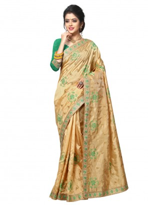 Embroidered Ceremonial Beige Classic Designer Saree